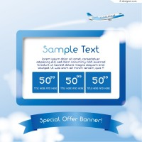 Vector material of blue travel banner
