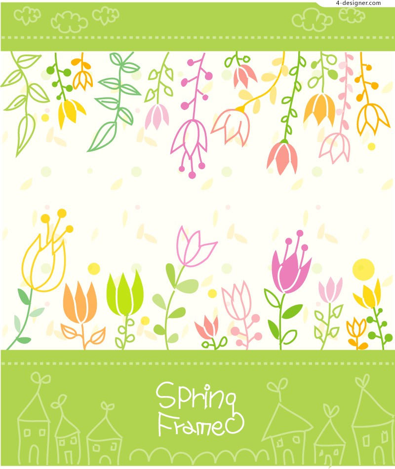 Vector material of childlike painted flowers