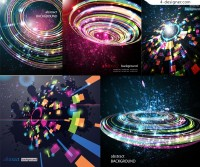 Vector material of colorful 3D cosmic background