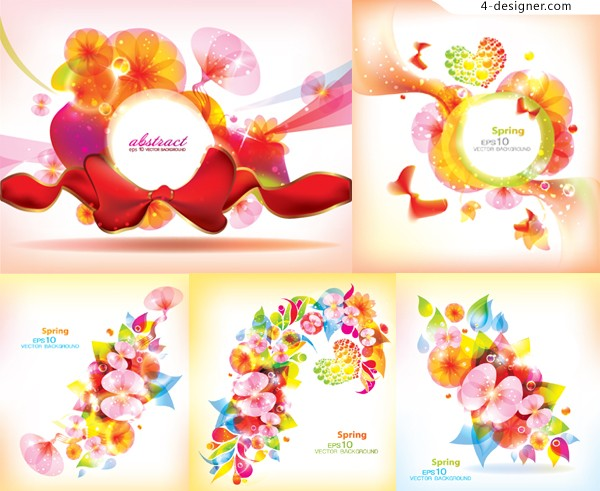 Vector material of colorful abstract flowers background