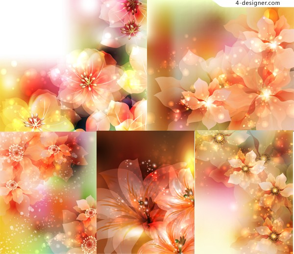Vector material of colorful fantasy flowers background