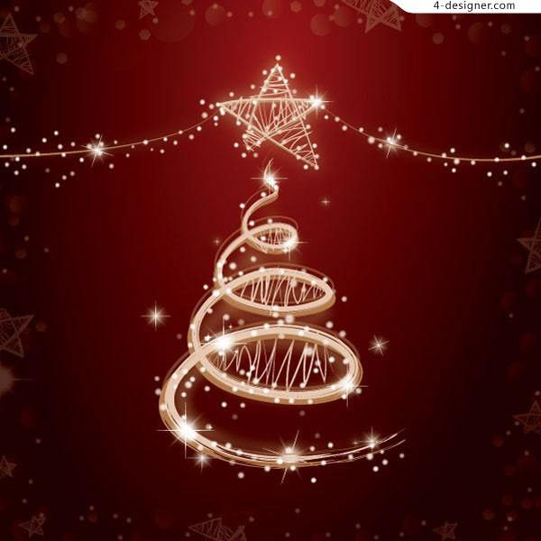 Vector material of colorful lights Christmas tree