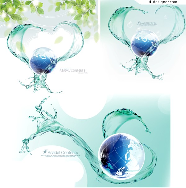 Vector material of dynamic water and blue earth background