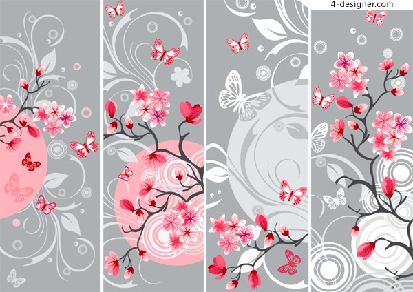 Vector material of elegant Japanese style cherry background