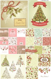 Vector material of exquisite Cartoon Christmas background