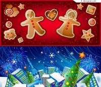 Vector material of exquisite Christmas banner