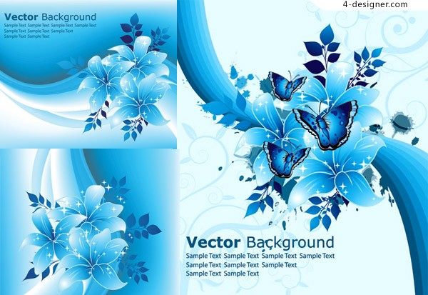 Vector material of fantasy blue flowers background