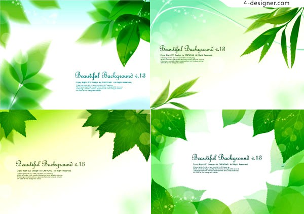 Vector material of fantasy fresh green leaves background
