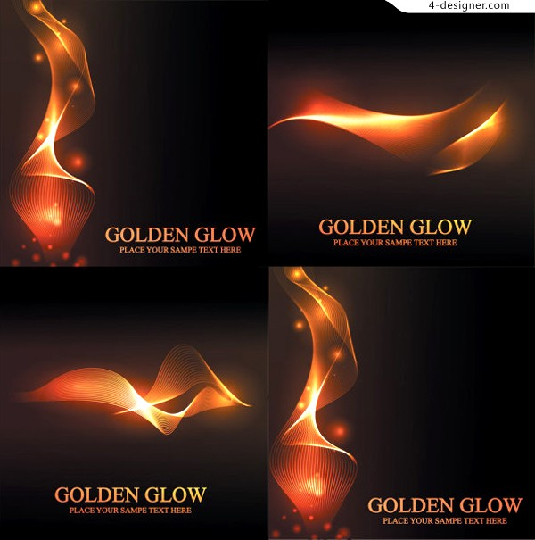 Vector material of fantasy golden dynamic lines background