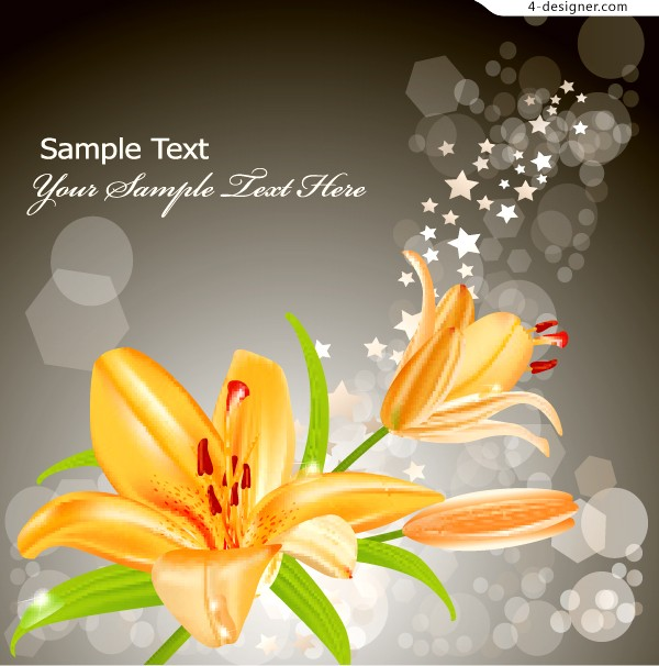 Vector material of fantasy golden lily