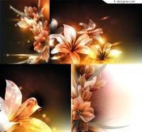 Vector material of fantasy lily flower background