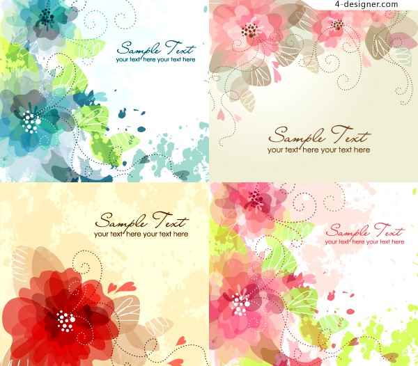 Vector material of fantasy watercolor flowers background