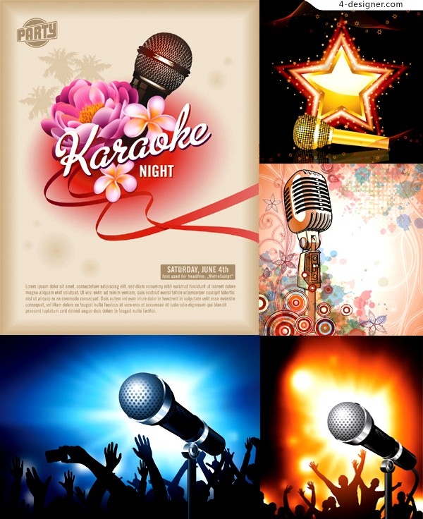 Vector material of fashion microphone background