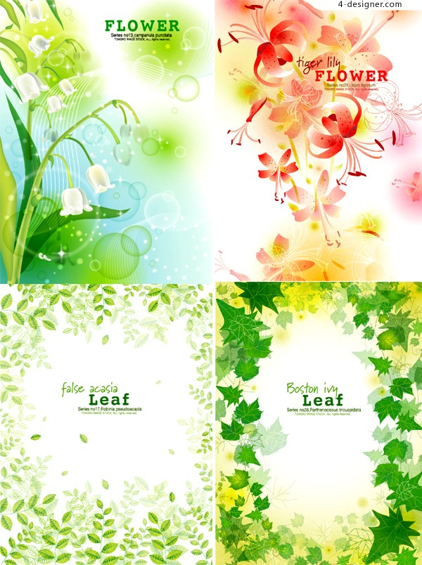 Vector material of flowers green leaf frame pattern