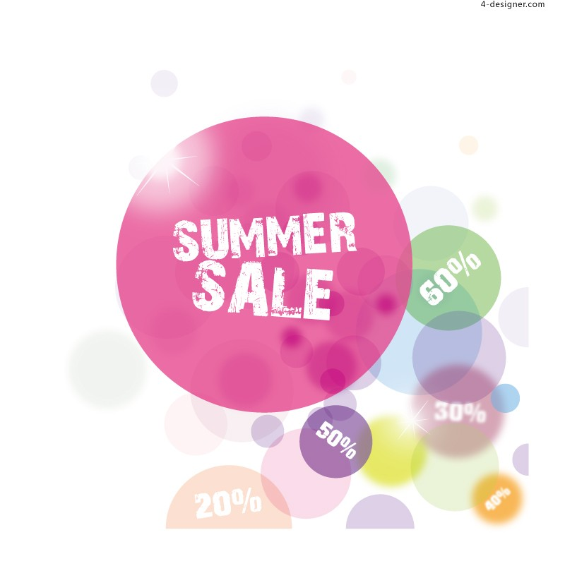 Vector material of fresh summer promotion color balls