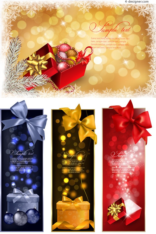 Vector material of gorgeous Christmas banner