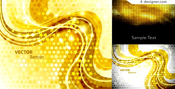 Vector material of gorgeous golden dynamic background