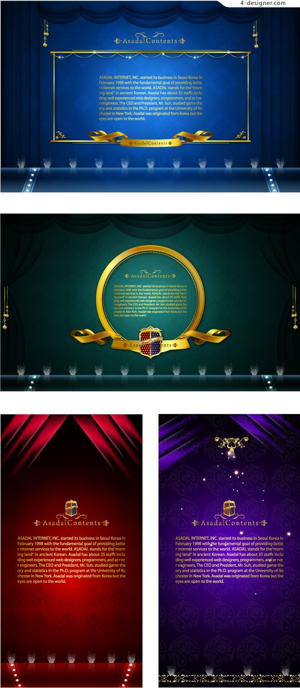 Vector material of gorgeous stage curtain background