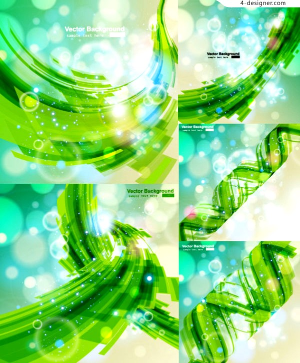 Vector material of green dynamic fantasy glare background