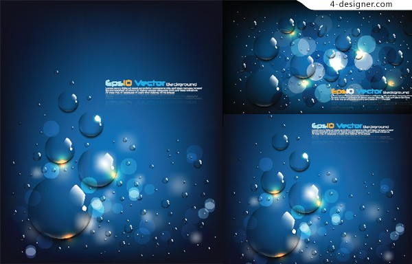 Vector material of icy blue waterdrops background