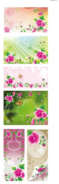 Vector material of plant flowers background