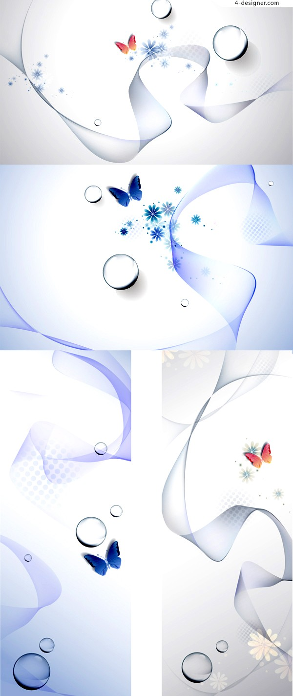 Vector material of poetic watermark butterfly background
