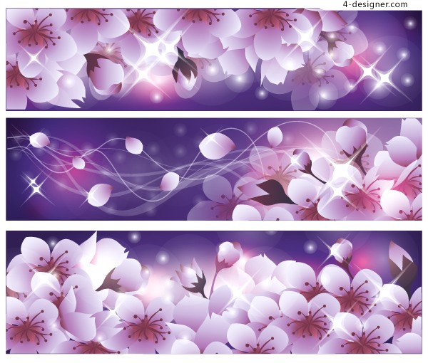 Vector material of romantic cherry banner background