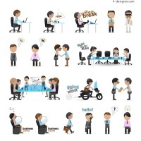 Cartoon Working People Vector Material