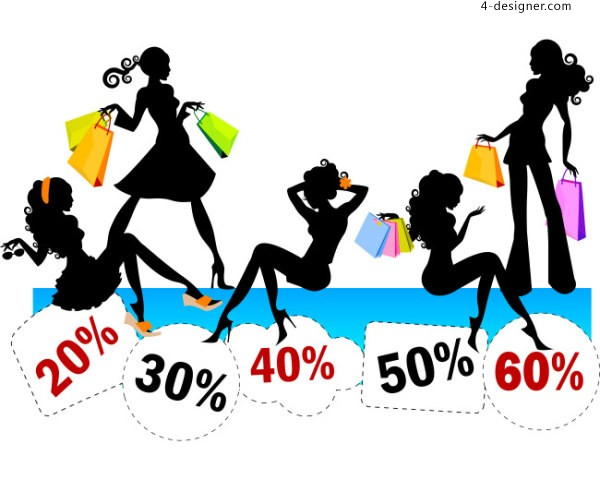 Silhouette Photos of Fashion Mall Girls Vector Material