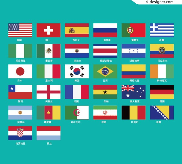 2014 World Cup Round of 32 national flag