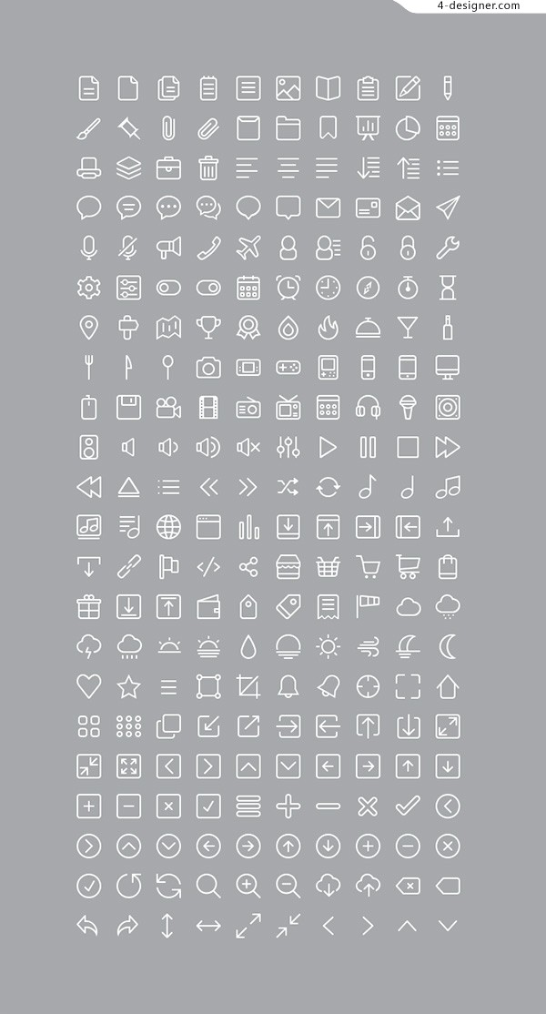 220 Icons PSD layered material
