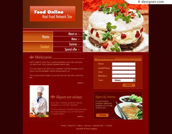 Classic foreign cuisine website PSD layered cake