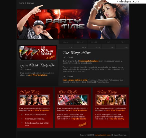 DJ music sites abroad classic PSD layered material