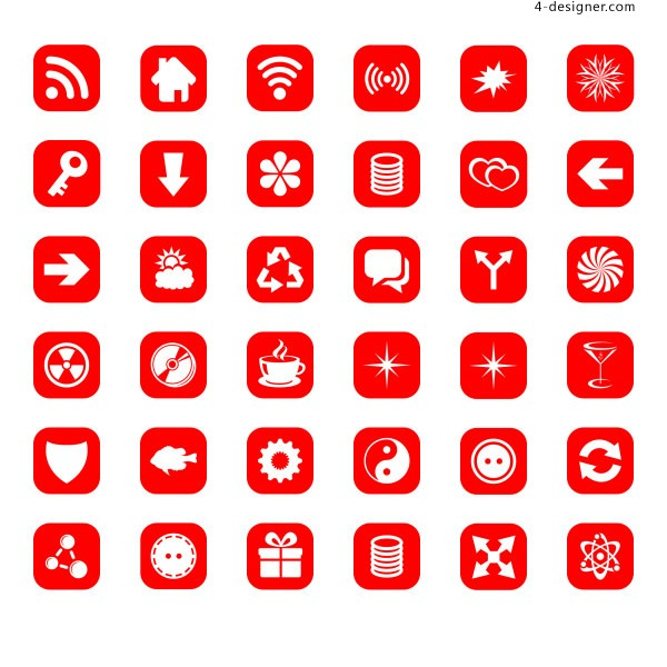 Exquisite red UI icon psd layered material
