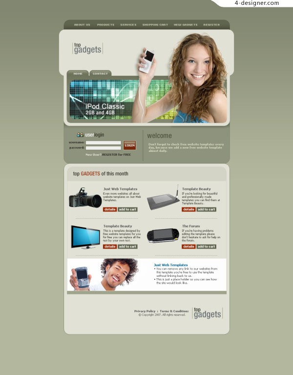 Foreign tech websites PSD MP3 phone