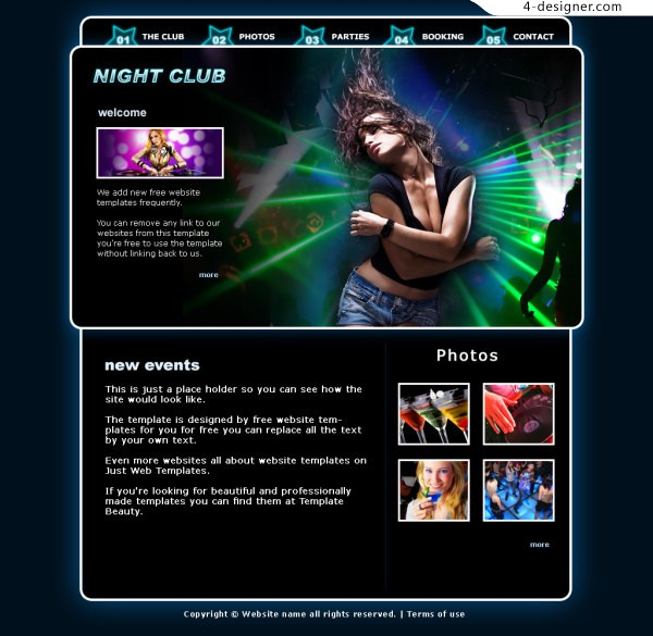 HAPPY foreign classic nightclub layered PSD website