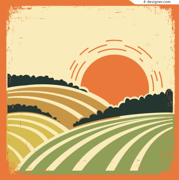 Idyllic sunset vector stick figure