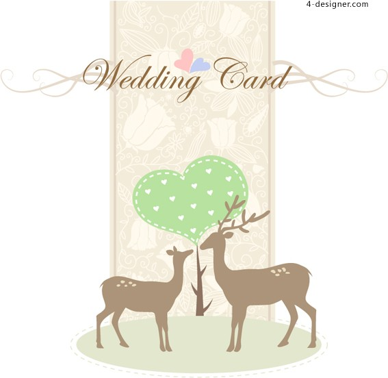 Intimate wedding invitation card design vector material