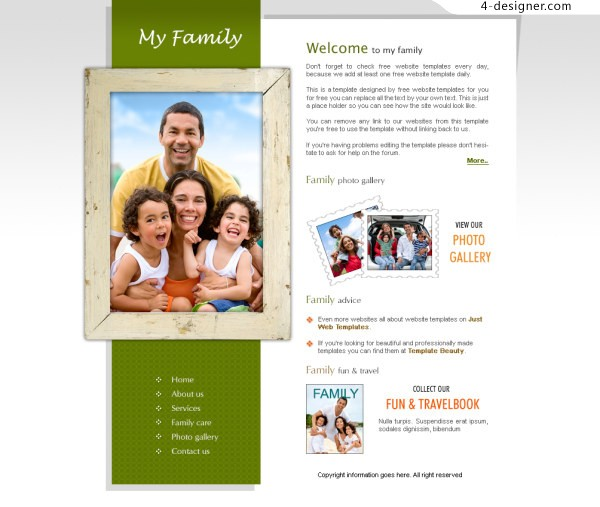 Personal family affection website PSD layered material