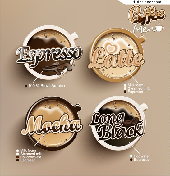 Stylish coffee label design vector material