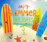 Summer beach vector material
