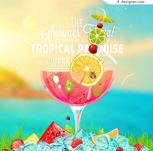 Summer ice drink posters vector material