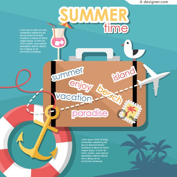 Summer travel posters vector material