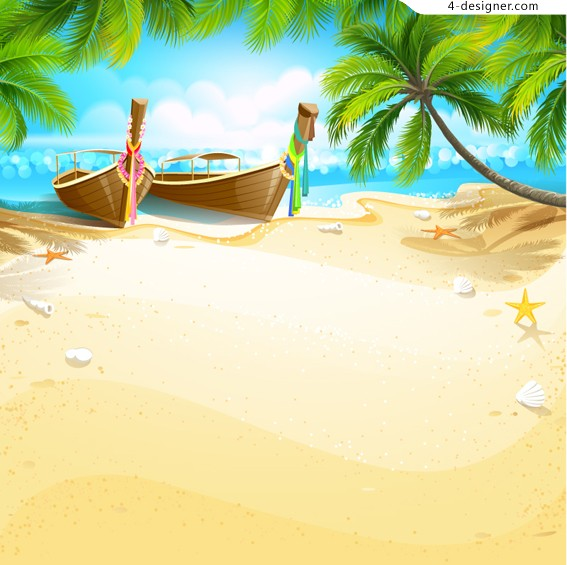 Tropical island style vector material