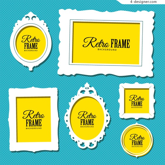 Vintage photo frame vector material