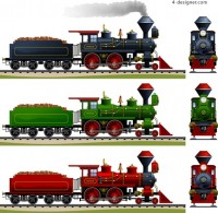 Vintage steam train vector material
