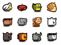 12 cute animal stick figure icon PNG 128x128px