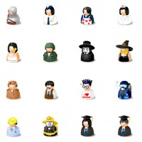16 different roles of characters PNG icons 128x128px