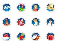 2009 Christmas badge PNG Icon 128x128px