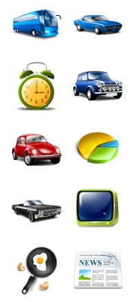 A variety of modes of transport PNG icons 256x256px